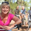 Two middle aged couple on bike ride — Stock fotografie #11072462