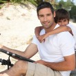 Father and son fishing together — Stock Photo #11072530
