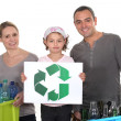 Family waste sorting — Stock Photo