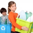 Children recycling plastic bottles - Foto de Stock