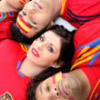 A group of friends supporting the Spanish football team - Photo