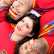 Stock Photo: Group of friends supporting Spanish football team