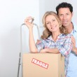 Couple with the keys of new flat — Stock Photo #11075112