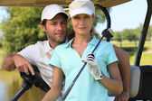 Couple game golf — Stock Photo