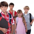 Schoolchildren with backpacks — Foto Stock