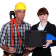 Royalty-Free Stock Photo: An architect and her foreman.