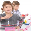 Stock Photo: Two little girls playing
