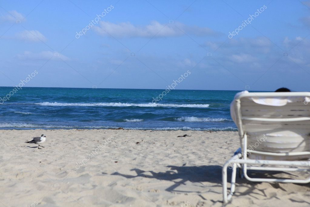 Sunlounger on a beach — Stock Photo #11307929