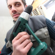 Stock Photo: Mwith cordless drill