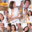 Montage of couple with fruit - Stock fotografie