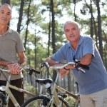 Senior men having a bike ride in the woods — Stock Photo