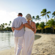 Couple walking on beach with palm trees — Stock Photo #11468060