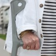 Old woman with crutch — Stock Photo