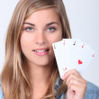 Girl with good game — Stock Photo
