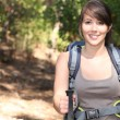 Stock Photo: Female hiker with backpack