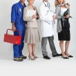 Mechanic, secretary, doctor and hairdresser. — 图库照片