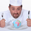 Globe cook on the plate — Stock Photo #11512444