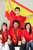 Spanish soccer fans — Stock Photo