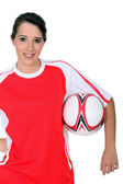 Female footballer — Stock Photo