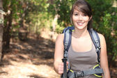 Female hiker with backpack — Stock Photo