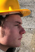 Close-up of serious looking builder — Stock Photo