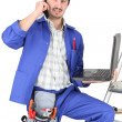 Plumber with tools — Stock Photo