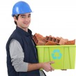 Young builder recycling — Stock Photo