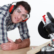 Stock Photo: Musing mitre saw