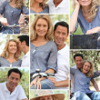 Collage of couple enjoying bike ride - Stock Photo