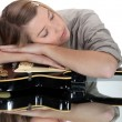 Young woman asleep over her guitar — Stock Photo #11637135