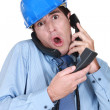 Stressed architect on telephone — Stock Photo #11637466