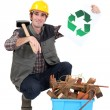 A handyman promoting recycling. — Stock Photo #11637703