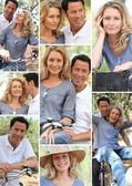 Collage of couple enjoying bike ride — Photo