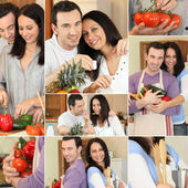 Couple cooking collage — Stock Photo