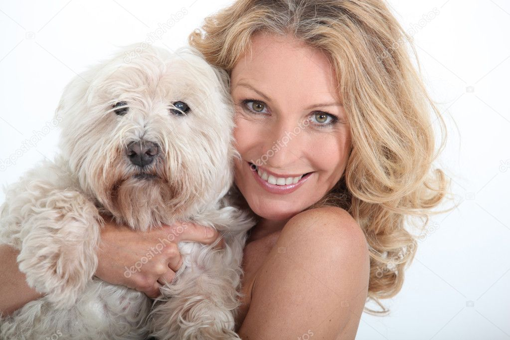 Close-up of woman and her dog. — Stock Photo #11636485