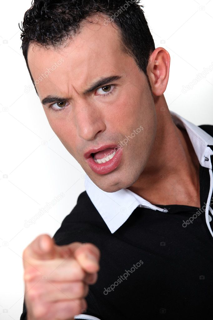 An angry man pointing his finger — Stock Photo #11637056