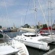 Boats moored by jetty — Stockfoto #11672085