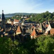 View of village rooftops - Stock Photo