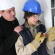 Stock Photo: Electrician in training