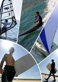 Watersports themed collage — Stock Photo