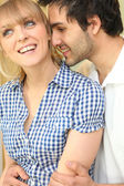 Romantic couple nuzzling — Stock Photo