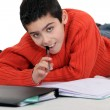 Stock Photo: Boy doing his homework