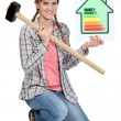 Woman with energy rating panel — Stock Photo