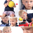 Various shots of a little blonde boy — Stock Photo
