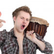 Stock Photo: Drummer who has attitude.