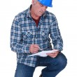 Foreman on white background - Stock Photo