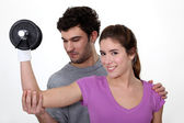 Couple training together — Stock Photo