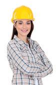 Porträtt av en leende tradeswoman — Stockfoto