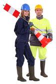 Trabajadores masculinos y femeninos de tráfico — Foto de Stock