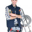 Electrician with a toolbox — Stock Photo